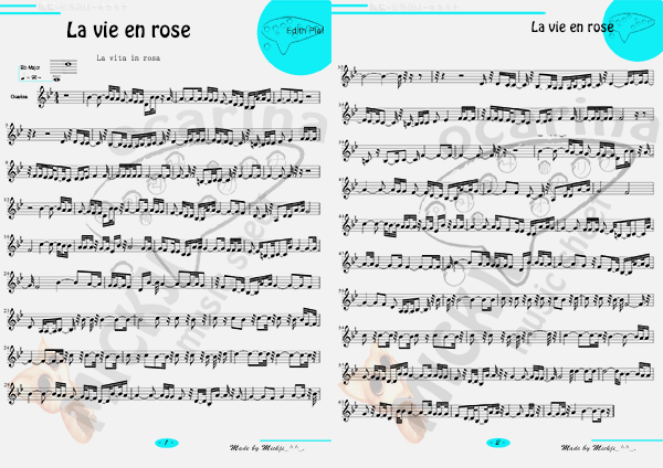 la Vie en Rose sheet music preview for ocarina