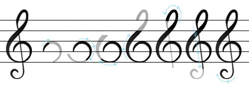 how to draw G treble clef